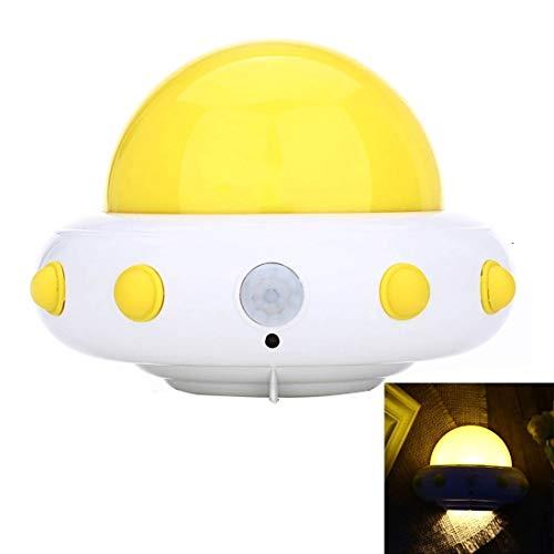 Décoration 1W 5 LED USB chargeant la lumière de nuit UFO LED, chambre à coucher maternelle de la lampe à induction, DC 5V, ABS Donner en cadeau (Couleur : Jaune)