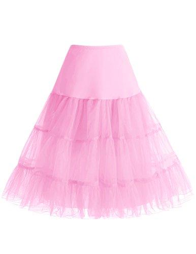 a 50s Vintage Rockabilly Petticoat Underskirt Pink L (Schwarz Und Weiß Gestreiften Rock Kostüm)