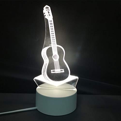 3D nachtlicht USB Plug-in Schalter Schlafzimmer Nacht led kleine tischlampe schlafsaal Dekoration kreative Urlaub Geschenk Gitarre DREI-Farbe warmweißes licht (3 watt) -