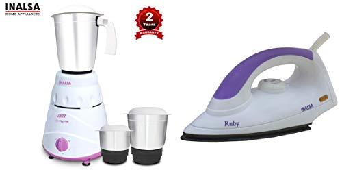 Inalsa Jazz 550-Watt Mixer Grinder with 3 Jars (Purple/White) & Ruby 1000-Watt Dry Iron with Non-Stick Coated Soleplate (White and Purple) Combo