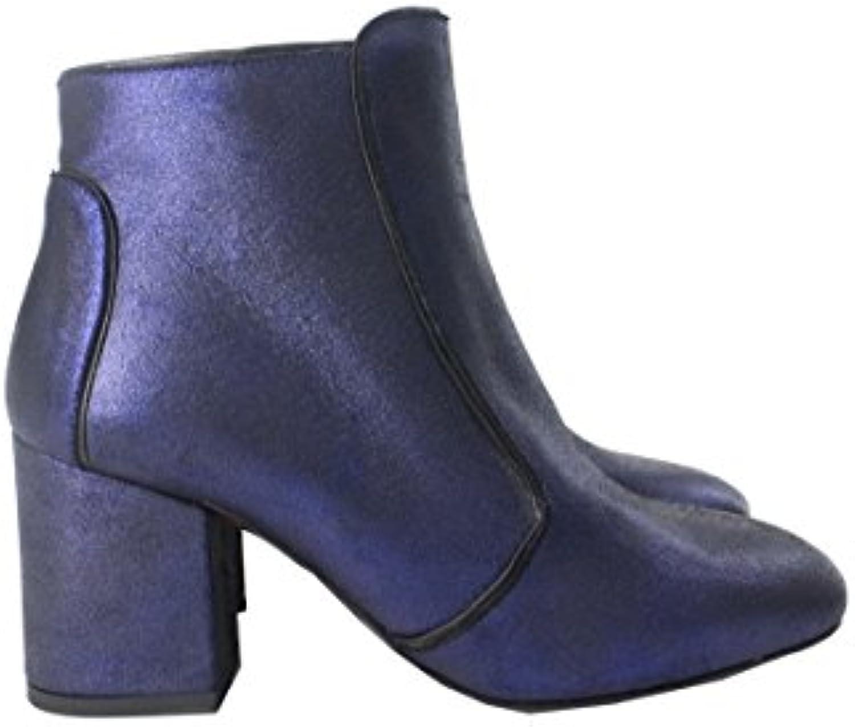 Scarpe Invernali da Donna Modello Stivaletto in Pelle Effetto Metal Blu con Tacco Medio Quadrato Made in  | Una Buona Reputazione Nel Mondo  | Uomo/Donna Scarpa