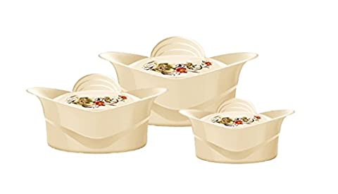 Regalia 3pc Plastic Hot Pot Casserole Set 1000, 1500 and 2500ml Keep Warm Serving Dishes White Blue Green Beige