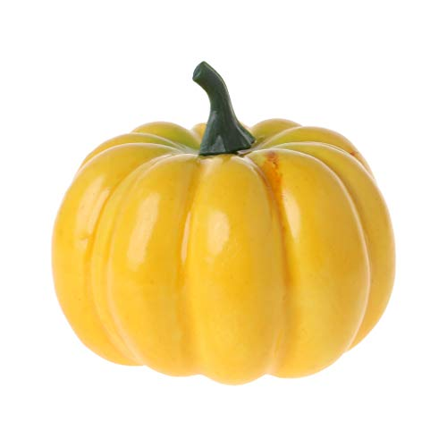 realistische künstliche kleine Kürbisse für Halloween, Herbsternte, Erntedankfest, Party-Dekoration, DIY gelb ()