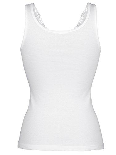 Damen Achselhemden mit Stickereimotiv by Viania 2X Weiß