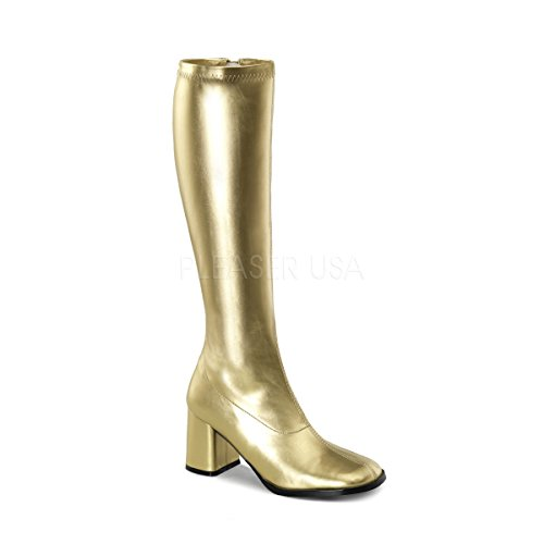 PleaserUSA Stretch-Kniestiefel Gogo-300 Gold matt Gr. 43