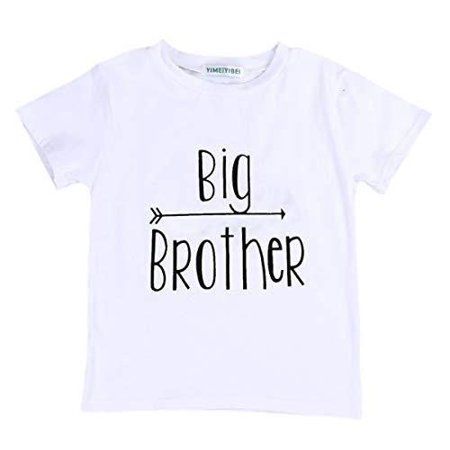Baby Mädchen Junge Kleine Schwester Kleine Bruder und Große Schwester Große Bruder Weiß Kleidung Overall Strampler Outfits Tops T Shirts (110/4-5 Jahre alt, Big Brother)