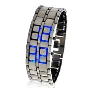 *** Montre Design Samouraï LED BLEU / ARGENT *** Montre en acier ajustable / Affichage LED date et heure / Longueur 22,5 cm / Largeur 2,5 cm / Pile CR2016 incluse. Argent / Bleu - NEUF