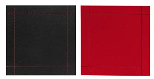 Lot de 4 simili cuir Stitch réversible Rouge et Noir Sets de table carrés