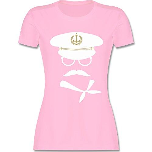 Schiffe - Matrose weiß/gold - tailliertes Premium T-Shirt mit Rundhalsausschnitt für Damen Rosa