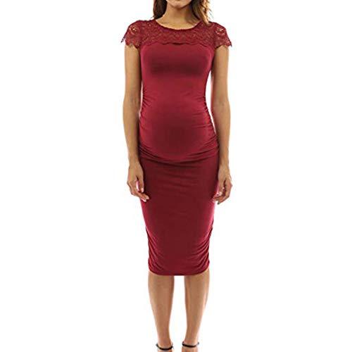 Vestido Premamá Moderna Fiesta Encaje,STRIR Largo de Encaje de Mujer Embarazada, de Maternidad Apoyos de fotografía Ropa Larga Maternidad y de Lactancia (L, Rojo)