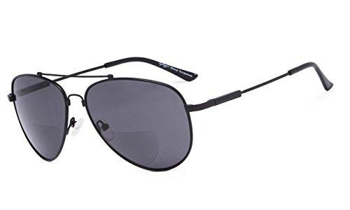 Eyekepper Bifokal Sonnenbrille-Polit Stil Sunglass mit Gedächtnis-Brücke und Arm lesen(Schwarze Rahmen graue Linse, 2.00)