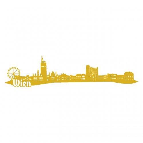 Wandtattoo Wien Skyline Wandaufkleber in 6 Größen und 19 Farben (230x52cm goldmetalleffekt)
