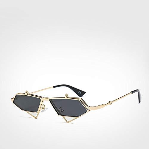 LXXSSRA Sonnenbrille Berühmte Luxusmarke Steampunk Sonnenbrille Männer Vintage Unregelmäßige Rote Linse Sonnenbrille Frauen Uv400 Blau Sonnenbrille