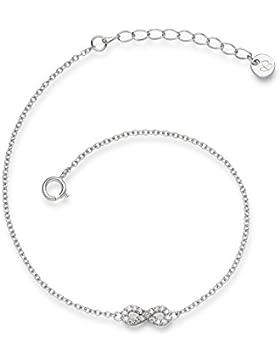 Glanzstücke München Damen-Armband Infinity Sterling Silber Zirkonia weiß 17 + 3 cm - Silberkettchen Unendlichkeit...