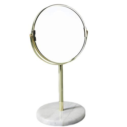 2-licht Abgeschrägten Glas (Kreative Persönlichkeit Nordic Desktop Spiegel Marmor Base18.5CM / 7.3INCH All Direction Rotation, Chrome Mirror)