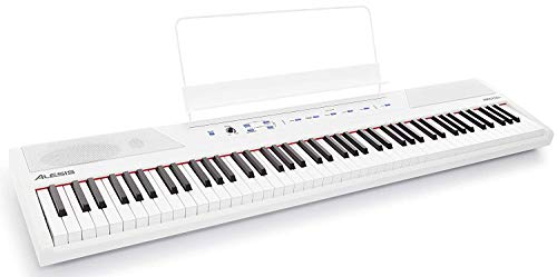 Alesis Recital White - Piano/Teclado digital para principiantes de 88 teclas con teclas semi-contrapesadas de tamaño completo, fuente de alimentación, altavoces incorporados y cinco voces