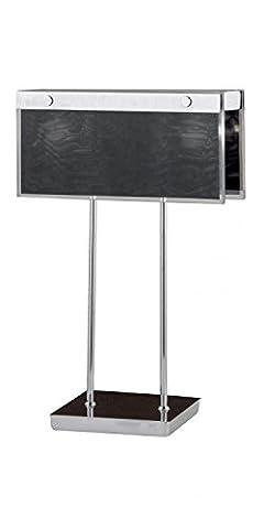 SAMBUCA Glas Tischleuchte Tischlampe Chrom Braun - Schwarz Eckig G9 40W