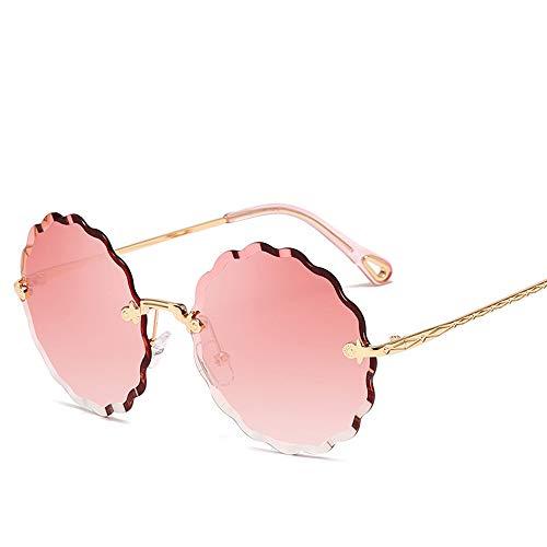 KJWELUQ Runde Sonnenbrille weibliche Blume geformt Metall randlose Linsen Mode Verlaufsgläser