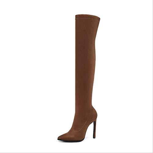 YMKWQF Botas Invierno sobre La Rodilla Botas para Mujer Telas Elásticas Zapatos De Tacón Alto Sin Cordones Zapatos con Punta Puntiaguda Botas Largas para Mujer Talla 34-43 4 Naranja
