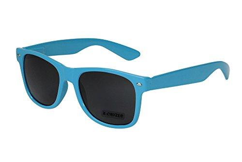 X-CRUZE® 8-014 X01 Nerd Sonnenbrille Style Stil Retro Vintage Retro Unisex Herren Damen Männer Frauen Brille Nerdbrille - hellblau