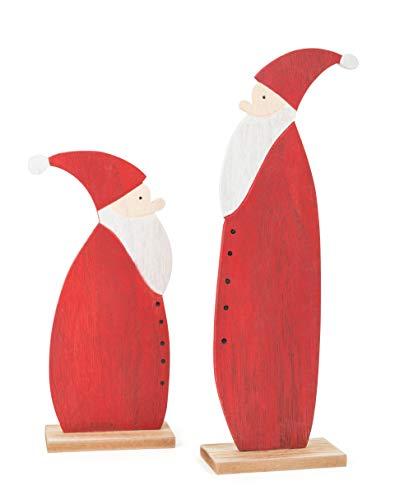 Small Foot Babbo Natale Decorativo in Legno, Decorazione e soprammobile Design Semplice ed espressivo, in Un Set da 2. Un Regalo Perfetto per la Stagione Natalizia, Multicolore, Taglia Unica