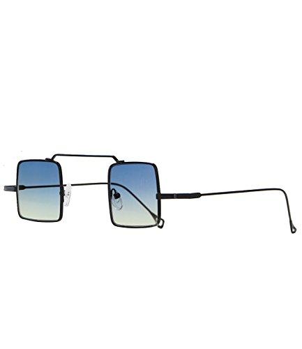 Caripe 70er Lennon Retro Vintage Sonnenbrille Damen Herren quadratisch rund verspiegelt - kvadra5 (schwarz - blueyellow getönt)
