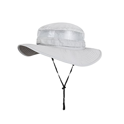 Dongyd Sonnenhut-Männer Sommer Outdoor-Klettern Fahrt Fahrrad Mesh Breathable Visor Flat Top Hut mit Kinnband (Color : Light Grey, Size : XL(61cm)) -