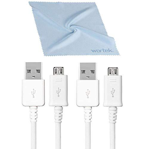 SAMSUNG Kabelset, kompatibel, 2X Original Micro USB Kabel Ladekabel Schnellladekabel Aufladekabel Android Smartphone ECB-DU4EWE 1,5m Weiß inkl. wortek Displaytuch