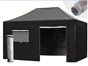 faltzelt faltpavillon 3x4 5 schwarz partyzelt pavillon wasserdicht aluminium hexagon 42mm. Black Bedroom Furniture Sets. Home Design Ideas