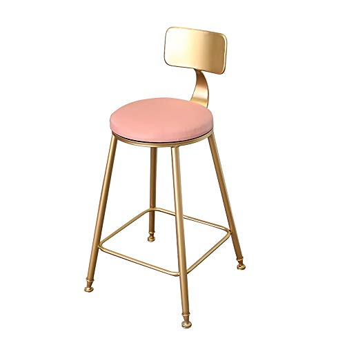 Hohe Dining Chair (ASDFNF Barstuhl Home Back Dining Chair Hoher Hocker Cafe Bar Lounge Chair (Color : Pink, Size : M))