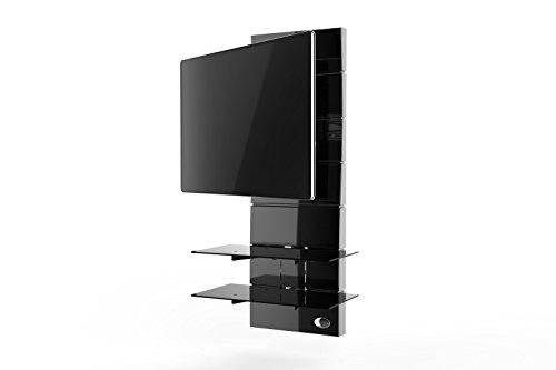 Supporto Tv Design.Meliconi Ghost Design 3000 Rotation Supporto Doppio Braccio Orientabile Per Tv Da 32 A 63 Con Mensole In Vetro Temperato Nero