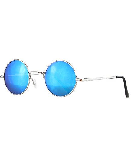 caripe runde Sonnenbrille - 815, Gestell silber - blau verspiegelt