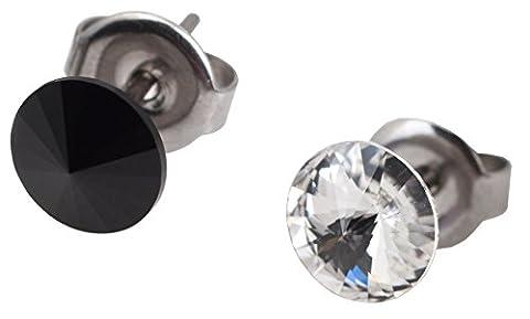 galaxyjewelry Noir Blanc ONYX CRYSTAL cristal pierre titane poteau boucle d'oreille, Aucune réaction allergique/6mm Paire