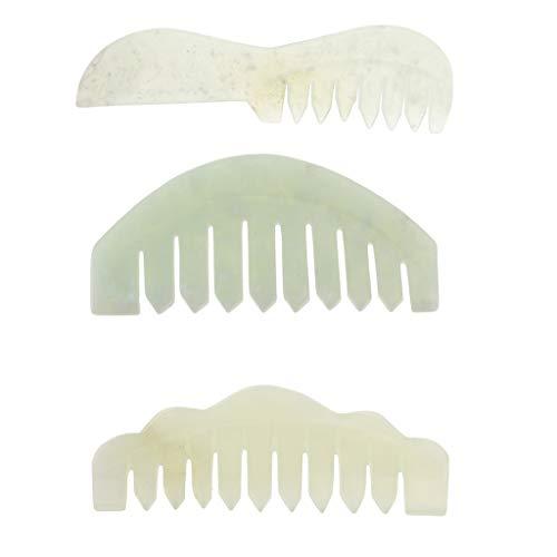IPOTCH 3 x Natürlicher Jade Kamm Gua Sha Massage Werkzeug für Gesichts- und Ganzkörpermassage (Jade-kamm)