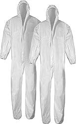Reißverschluss Maler-Overall 10 Stück Einweg-Schutz-Anzug XXL weiß mit Kaputze