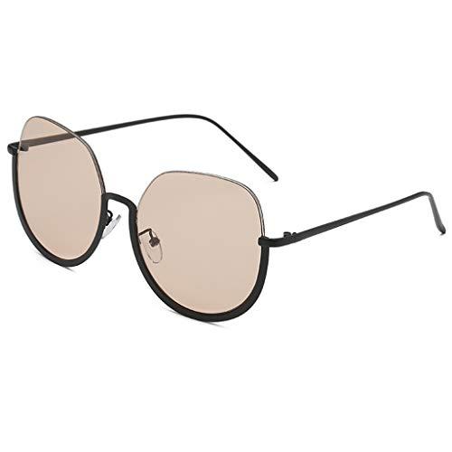 QUINTRA Sonnenbrille im Retro-Stil Unisex-Sonnenbrille mit Halbrahmen aus Metall Unregelmäßige Form Sonnenbrille Gläser