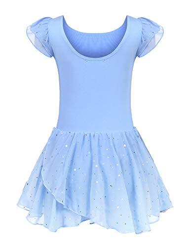 Kinder Ballettkleidung Ballettkleid Mädchen Kurzarm Baumwolle Balletttrikot Ballettanzug Tanzkleid Tanzbody mit Rock Tütü, 160, Blau