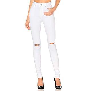 H HIAMIGOS Damen High Waist Skinny Jeans Jeanshose Röhrenjeans Knie Risse mit Destroyed-Effekten weiß S/36