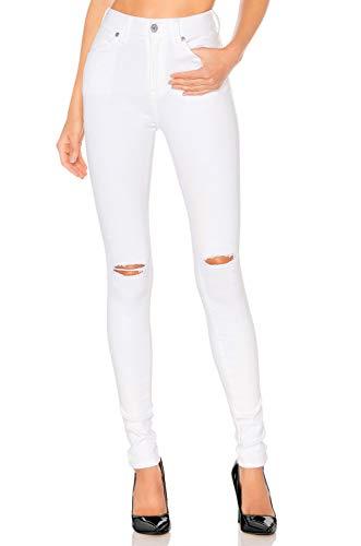 H hiamigos jeans donna a vita alta skinny strappati elastico super stretch jegging pantaloni strappato casual bianco strappi 38
