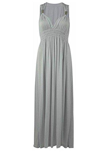 Ressort pour femme Manches longues en Jersey Desire Clothing Maxi robe Argenté - Gris