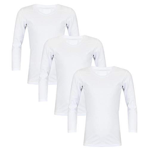 TupTam Unisex Kinder Unterhemd Langarm 3er Pack, Farbe: Weiß, Größe: 152 -