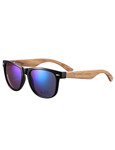 Bambus-Sonnenbrille mit Brillen-Etui, Schraubenzieher und Tasche - polarisiert - UV400 - verschiede...