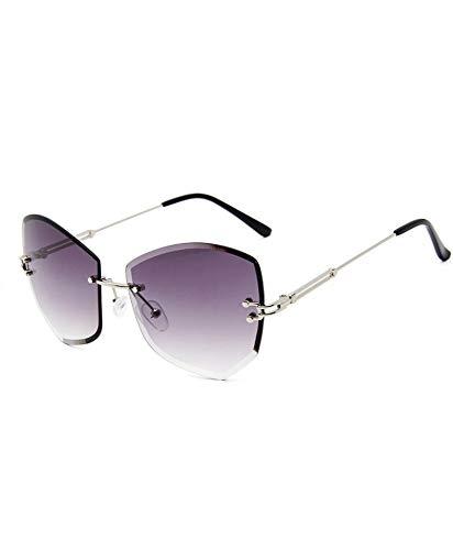 MJDABAOFA Sonnenbrillen,Diamond Cutting Randlose Sonnenbrille Silber Gestell Grau Objektiv Frauen Designer Damen Schattierungen Vintage Übergrosse Sonnenbrille