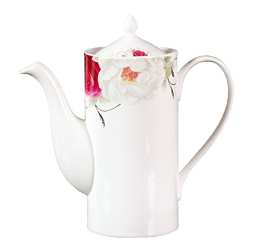 Porzellan Keramik Teekanne Kaffeekanne, Blume, Weiß Und Rot