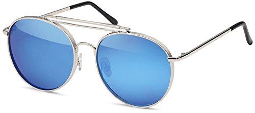 styleBREAKER Piloten Sonnenbrille mit dickem Metallrahmen, Doppel Metallsteg und Flachgläsern, Brille, Unisex...