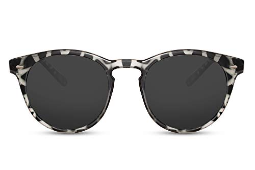 Cheapass Sonnenbrille Rund Schwarz Weiß Zebra UV-400 Plastik Damen Herren