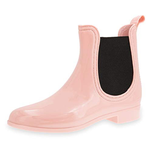 Marimo Damen Schlupf Gummistiefel Chelsea Boots Lack Stiefeletten Rosa 39