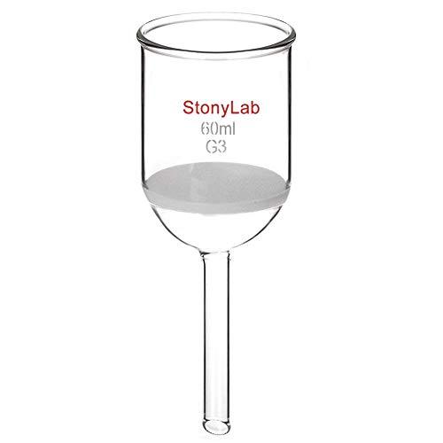 StonyLab Glas Büchner Trichter Filter, Borosilikatglas Buchner Filtertrichter mit Feiner Fritte, 46mm Innendurchmesser, 60mm Tiefe - 60ml -