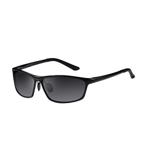 YUN Sonnenbrille Herren, UV400-Schutzglas Gummi-Nasenpads Retro-Polarisationsgläser zum Fahren und für den Außenbereich Besser (Schwarz) (Color : Black)
