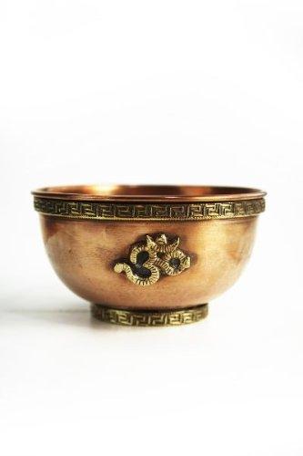 Räucherschale OM aus blankem Kupfer mit wunderschönen Messingapplikationen